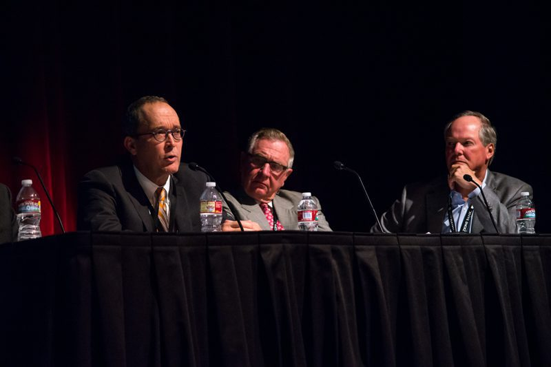 Matthew D. Cabell, President, Seneca Resources Corp; Jerry Moyes, Chairman, Founder & CEO, Swift Transportation and Ron Jibson, CEO, Questar Corporation, participate in a distribution and transportation panel