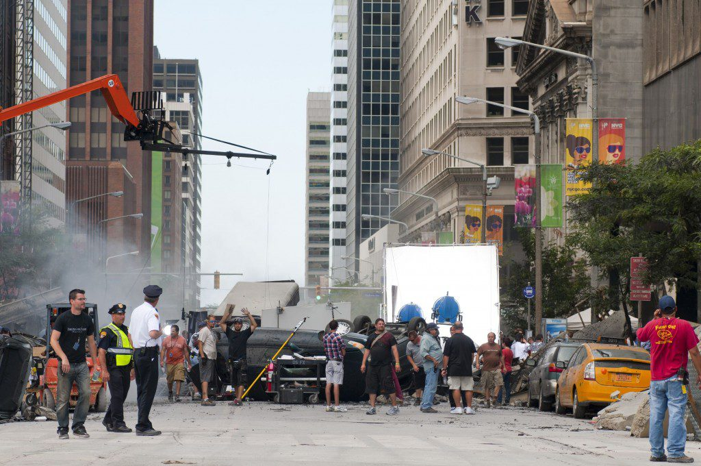 Cleveland - August 17, 2011: Production of the blockbuster movie The Avengers on a blocked-off Cleveland street. Photo Credit: Kenneth Sponsler - www.123RF.com