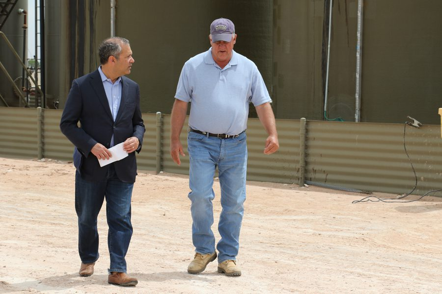 CNBC Special Correspondent Scott Cohn (left) and Manzano LLC's Manager Mike Hanagan in Hobbs, New Mexico (Photo Credit: Justin Solomon / CNBC)