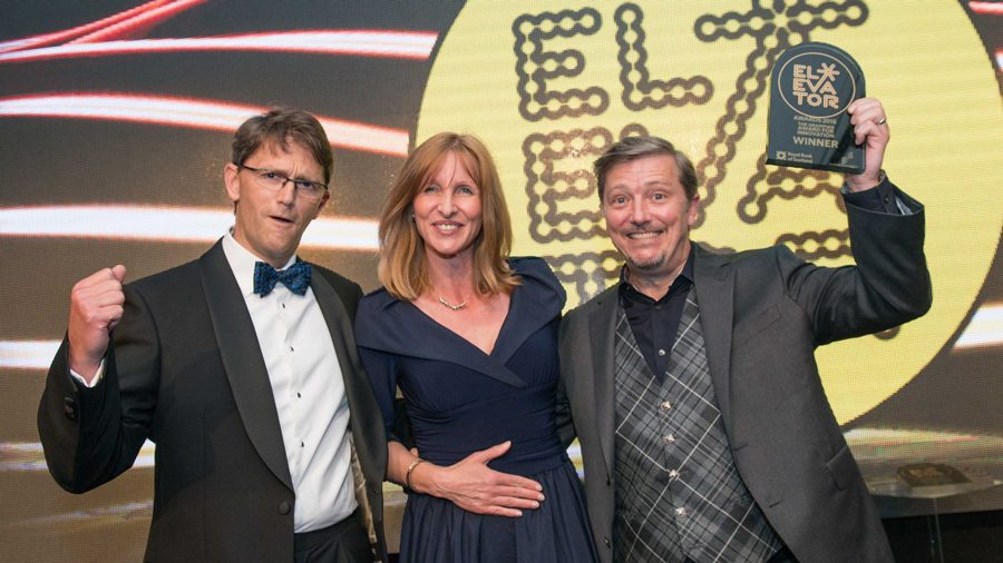 Mike Churchill, CEO, Commercial Director, Churchill Drilling Tools (left); Anke Heggie, Company Growth Support Director, Scottish Enterprise; Andy Churchill, Chairman, Technical Director, Churchill Drilling Tools.