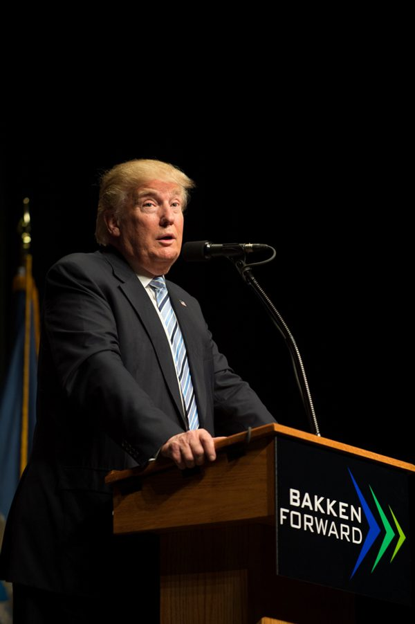 Donald Trump speaks as the Keynote speaker at the Williston Basin Petroleum Conference in Bismarck, ND.