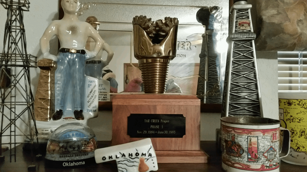 Tulsa Oil Man, Oil Well Gusher, Decanters and a Drill Bit from the Tar Creek Project