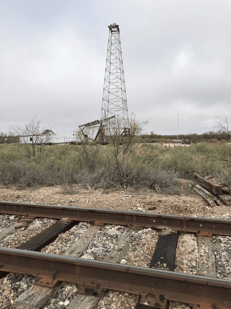 The Santa Rita #1 Well from the railroad tracks that brought the drilling rig to the remote location