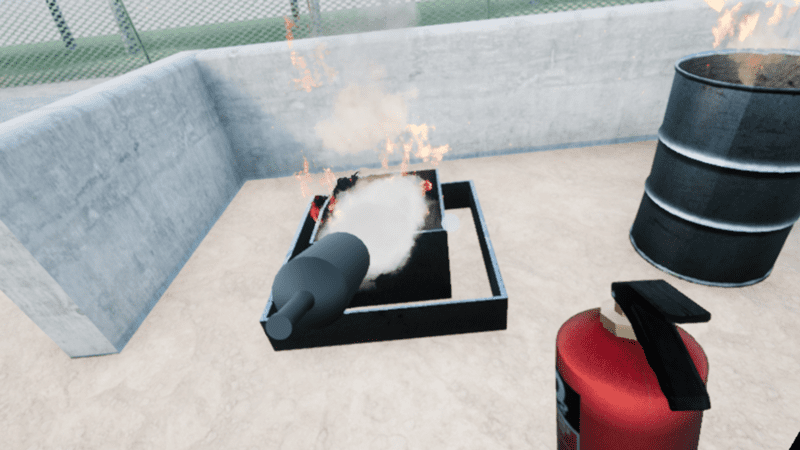 The VR Fire fighters view while practicing the PASS technique