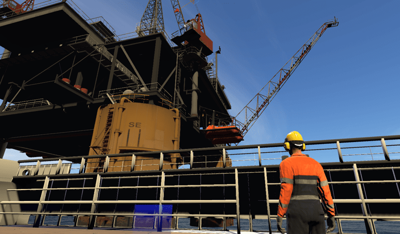 The view from a supply vessel during VR Rigger training