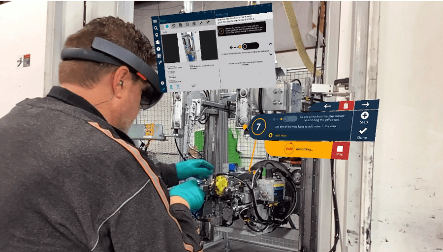 On Taqtile's Manifest platform, procedures are visually overlaid step-by-step on real equipment. Operators can document work performed using pictures, video and text.
