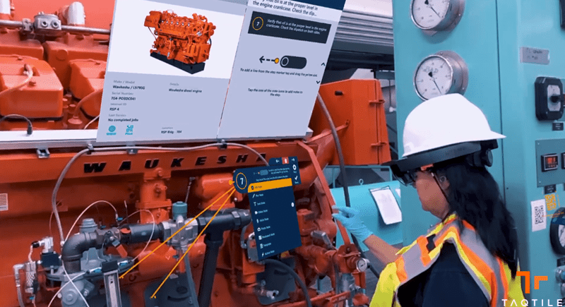 Taqtile's Manifest platform allows skilled workers to create stored, step-by-step procedures with minimal training. Markers and position indicators steer users to key components and equipment locations. Authors can include video, audio, photos, documents or schematics.