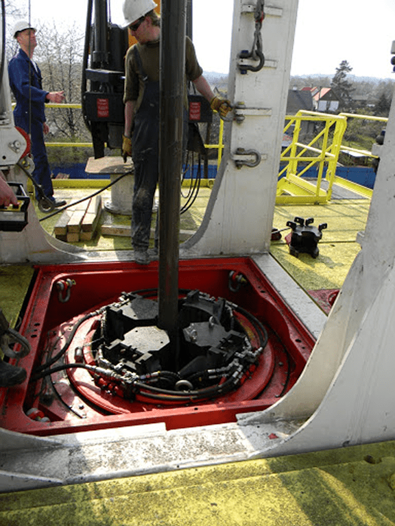 Rotary drilling. Photo courtesy of Fundamentals  of Onshore Drilling