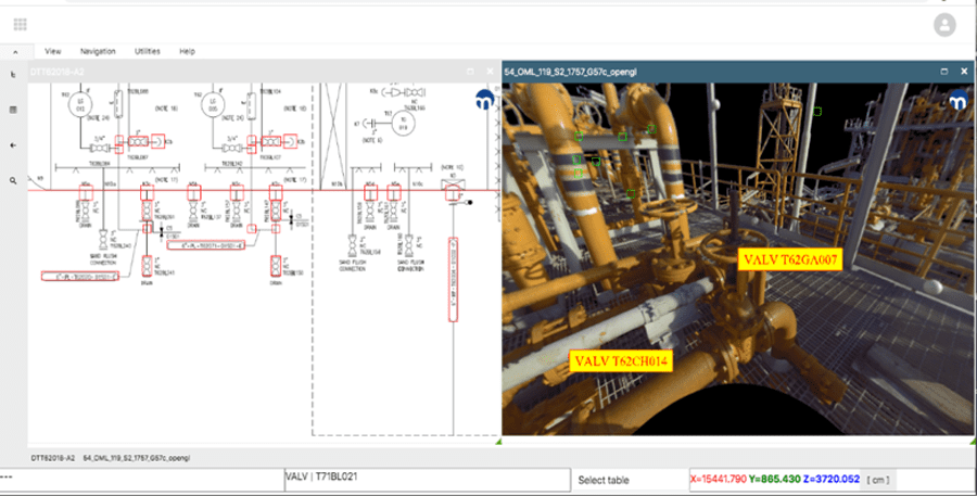 Laser scan linked to an intelligent P&ID to support virtual inspections of assets
