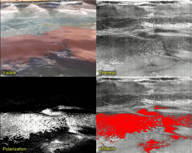Figure 4. Detection capability of visible (upper left), thermal (upper right), polarization (lower left) and the combined IR/polarization signal (lower right) when dealing with emulsified oil.