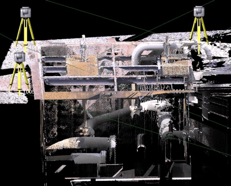 Combined point clouds provide complete data on piping and equipment in sunken vault.