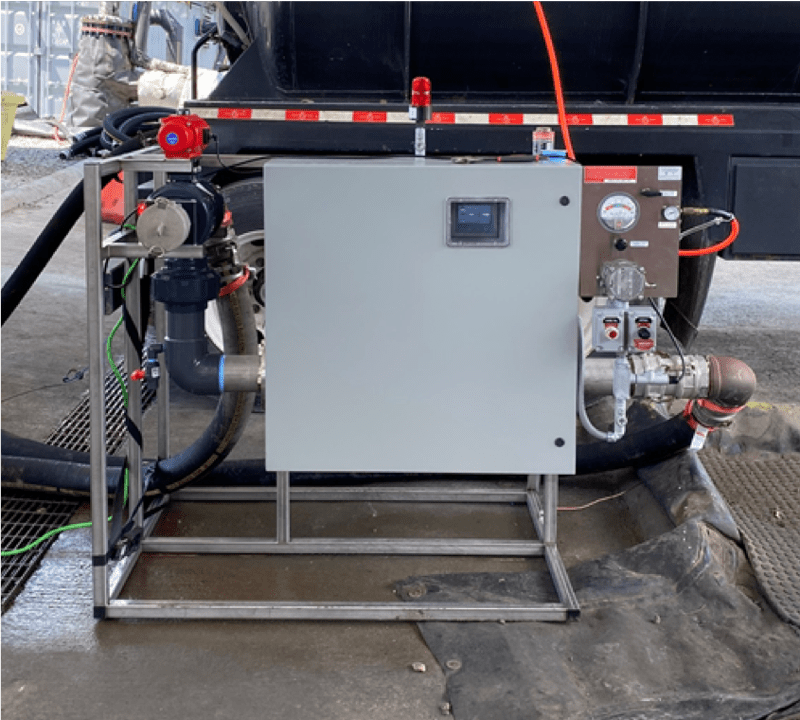 The HC-DETX in-line condensate detection system is an accurate system for detecting the presence of hydrocarbons in production water. It is capable of measuring condensate down to one PPM and will prevent condensate from contaminating trucks and fracs. Photos courtesy of Comtech Industries, Inc.