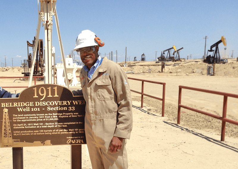 Banister onsite at the Belridge discovery well (May of 2014).