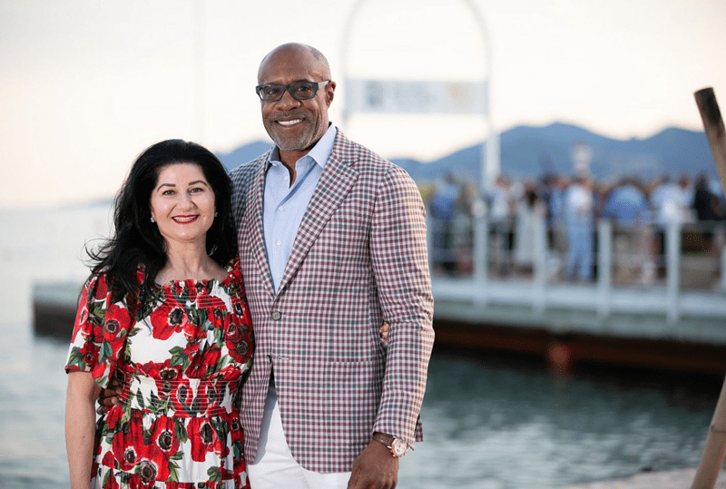 Banister and wife, Simin, in Cannes, France. Photo courtesy of matsmithphotography.com.